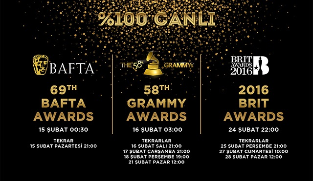 BAFTA, Grammy ve Brit Ödülleri Power TV'de!