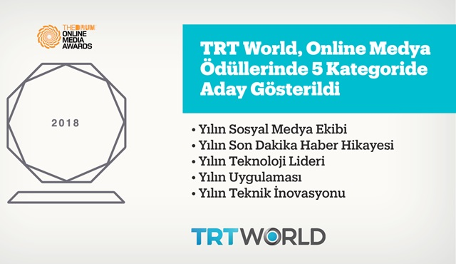"TRT World, ""The Drum Online Media"" Ödülleri'nde 5 dalda aday gösterildi!"